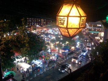 Night market from roof top bar
