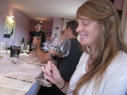 Sampling Barolo wine