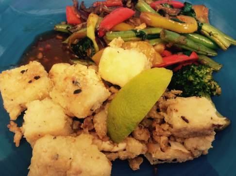 Crispy tofu with stir fried veggies