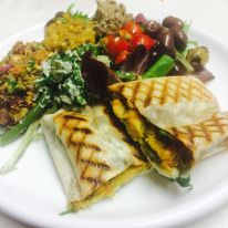 Falafel and halloumi wrap with salads