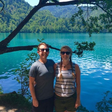 Pete and I enjoying Bled