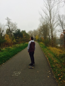 Pete on his longboard