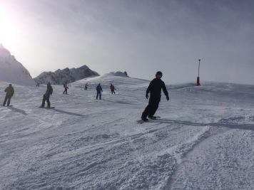 Pete snowboarding
