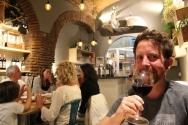 Wine bar escaping the rain