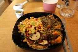 Vegan quiche with salads